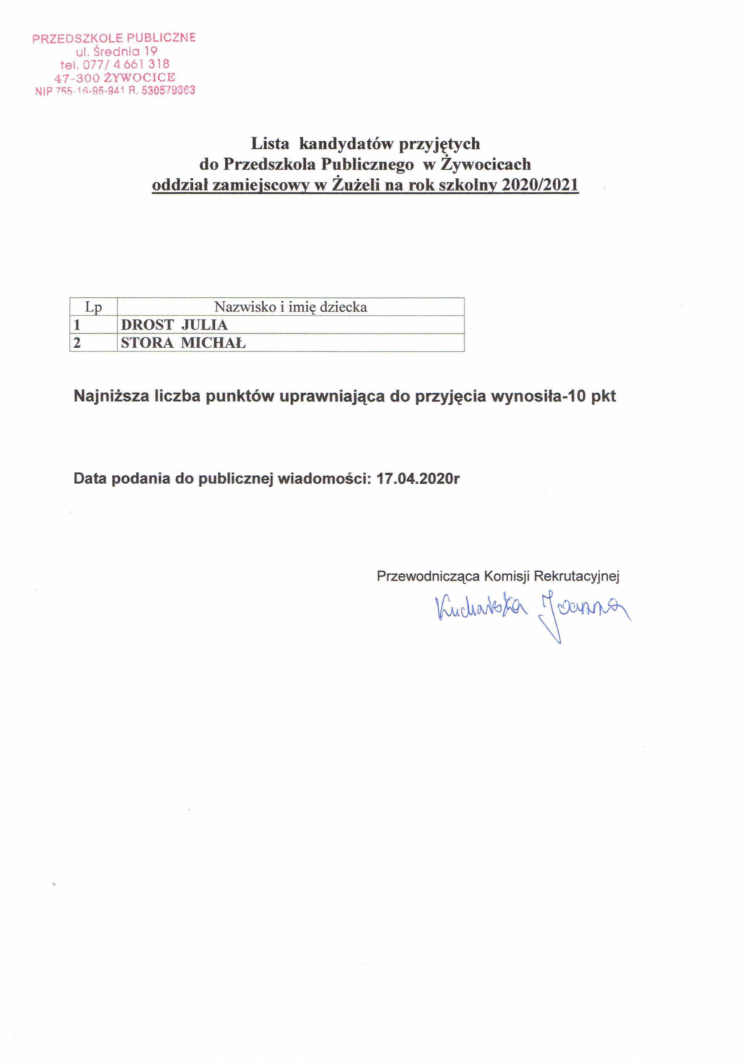 Kandydaci przyjęci PP Żywocice oddział Żużela.jpeg